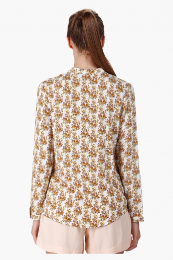 Printed Blouse with Mandarin Neck in Regular Fit