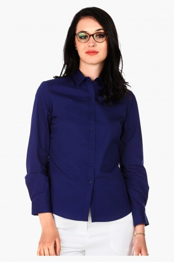 Basic Button Down Shirt with Collar and Full Sleeves