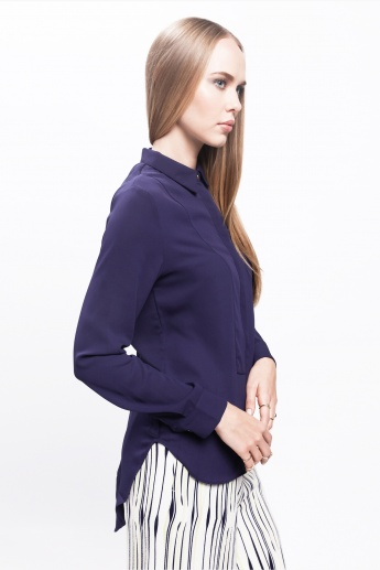 Layered Shirt with Long Sleeves and Tie Back