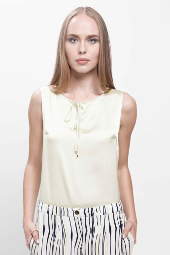 Sleeveless Top with Drawstring Detail