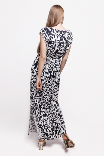 Printed Maxi Dress with Cap Sleeves and Elasticise Hem