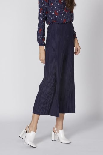 Pleated Culottes with Elasticised Waistband and Slit Detail
