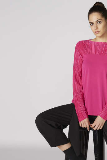 1b8ba505bbca Textured Top with Boat Neck and Long Sleeves