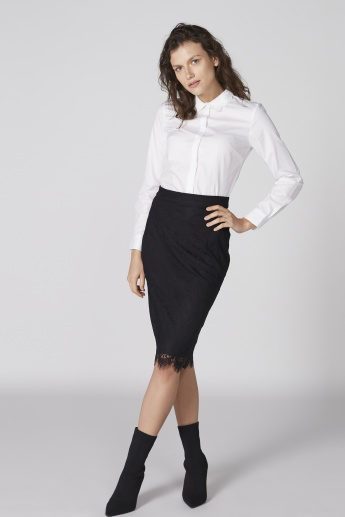 Textured Shirt with Long Sleeves and Concealed Placket