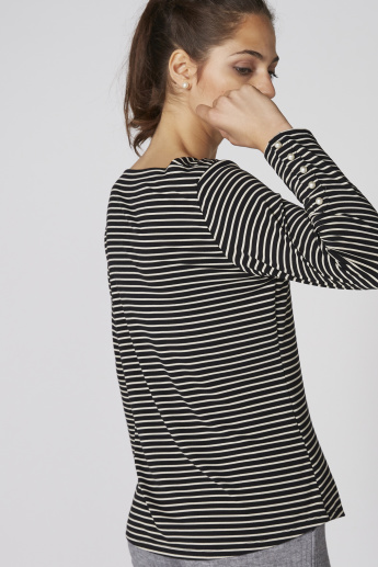 Striped Long Sleeves Top with Boat Neck and Pearl Detail
