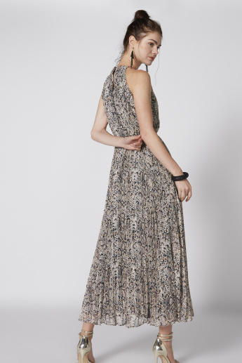 Printed Pleated Maxi Dress with Tie Ups and Chain Detail