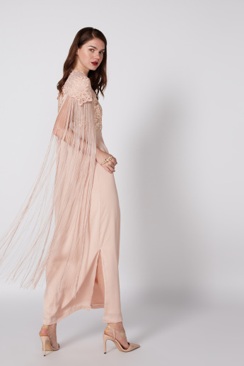 Embroidered Maxi Dress with Fringe Detail