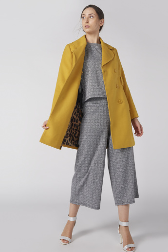 Textured Trench Coat with Long Sleeves and Button Closure