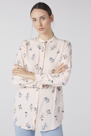 Floral Printed Shirt with Mandarin Collar and Complete Placket