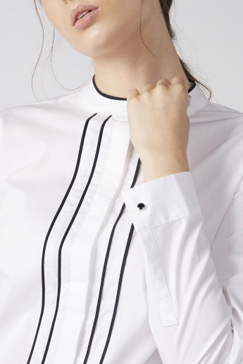 Long Sleeves Shirt with Mandarin Collar and Concealed Placket