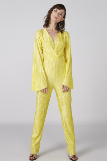 c5e987cfc47c Textured Full Length Jumpsuit with Long Sleeves