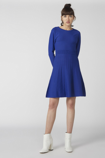 Textured Mini Dress with Round Neck and Long Sleeves