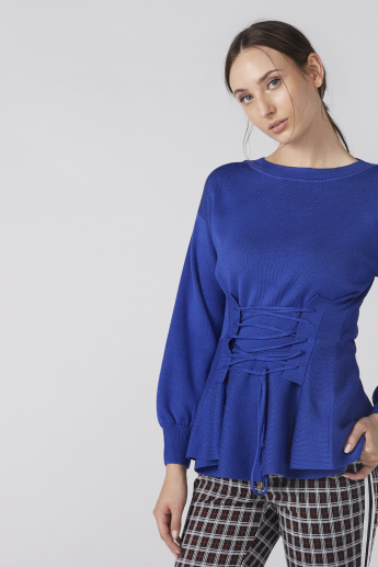 Textured Round Neck Top with Tie Up Detail and Long Sleeves
