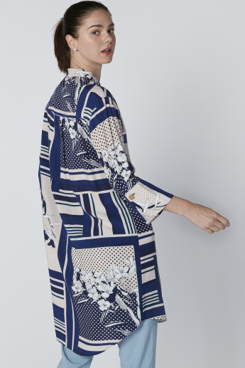 Printed Shirt Tunic with Concealed Placket