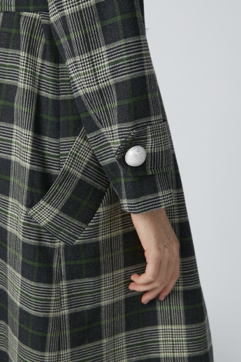 Chequered Longline Coat with Long Sleeves and Belt Detail
