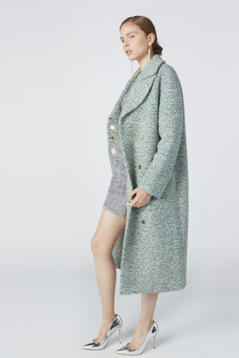 Textured Open Front Jacket with Eyelet Detail and Long Sleeves