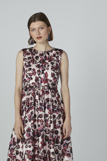 Printed Sleeveless A-line Dress with Tie Ups