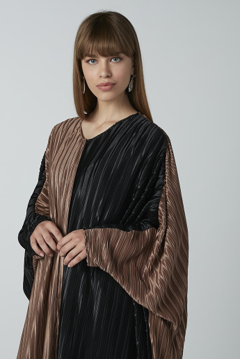 Textured Kaftan Cardigan with V-neck and Long Sleeves