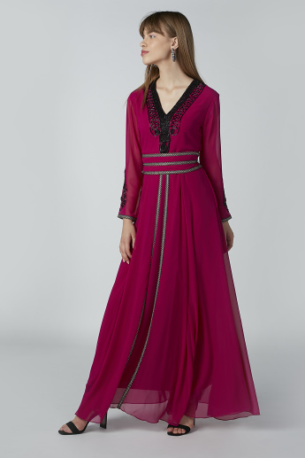 Beaded Detail Maxi A-line Dress with Long Sleeves and V-neck