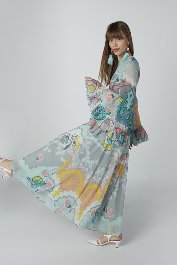 Printed Maxi A-line Dress with Flared Sleeves