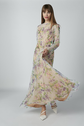 Floral Printed Maxi A-line Dress with Long Sleeves