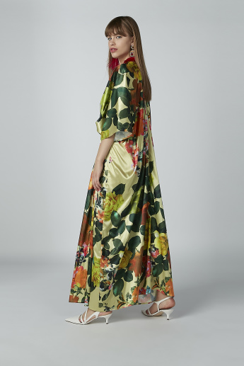 Printed Maxi Dress with Flared Sleeves