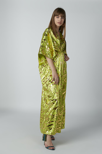 Printed Maxi Dress with Flared Sleeves and V-neck