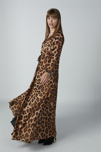 Animal Printed Maxi Dress with V-neck and Flared Sleeves