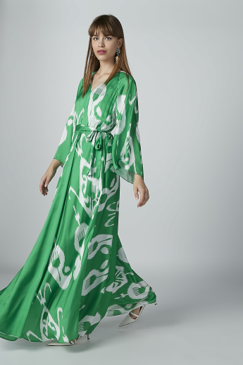 Printed Maxi Dress with Flared Sleeves and Tie Up Detail
