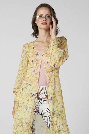 Sustainability Printed Longline Shrug with Long Sleeves