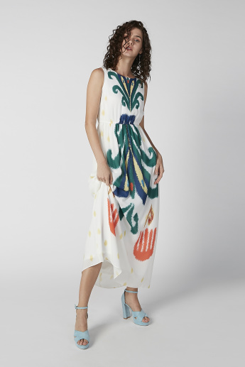 Printed Maxi A-line Sleeveless Dress