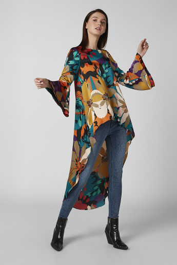 Printed Top with Bell Sleeves and High Low Hem