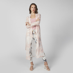 Printed Longline Shrug with Long Sleeves and Tie Ups