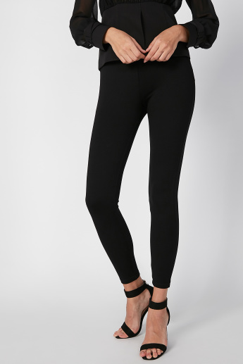 Skinny Fit Plain Mid Waist Leggings with Elasticised Waistband