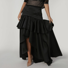 Plain Maxi Skirt with Elasticised Wasitband and Asymmetric Hem