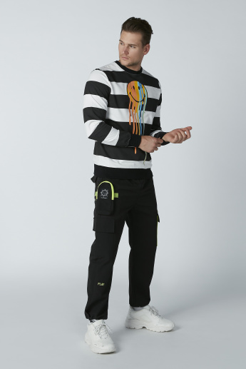 Smiley World Striped Sweatshirt with Long Sleeves