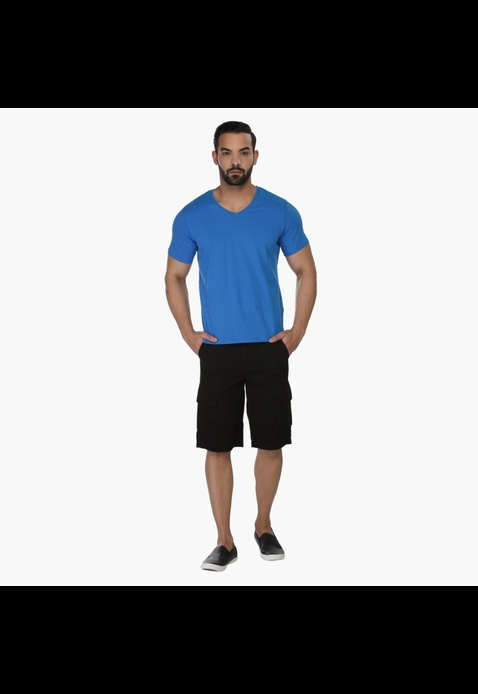 Solid Colour V-neck T-shirt