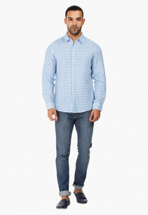 Gingham Long-sleeved Shirt