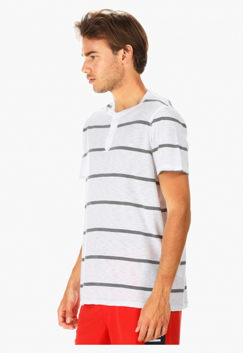 Striped Henley Neck T-shirt