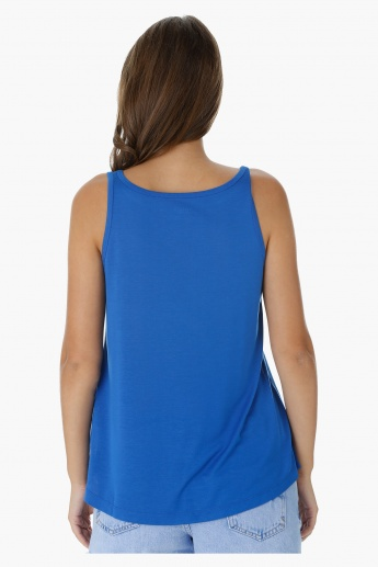 Sleeveless Top with Boat Neck