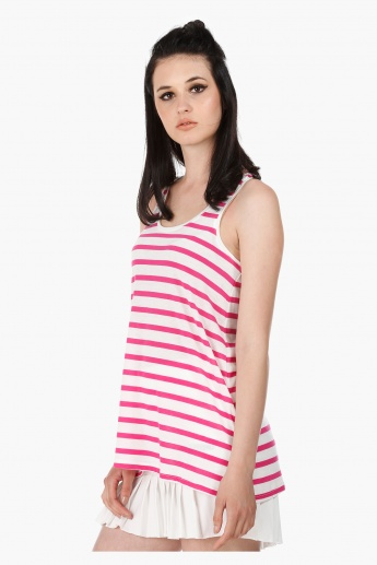 Sleeveless Top with Round Neck in Regular Fit