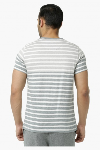 Casual T-Shirt with Crew Neck and Stripes in Regular Fit