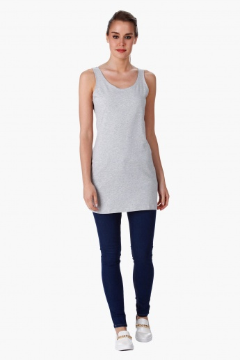 Sleeveless Long Vest with Crew Neck