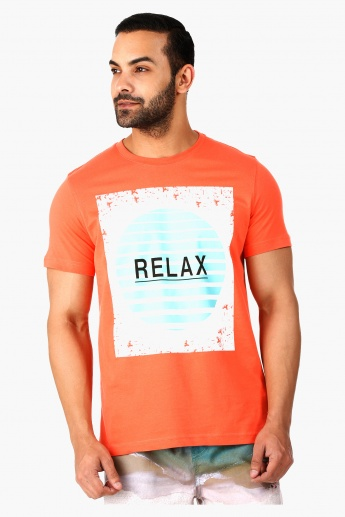 Printed Cotton Crew Neck T-Shirt with Short Sleeves
