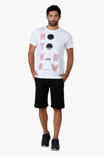 Crew Neck Cotton T-Shirt with Graphic Print and Short Sleeves