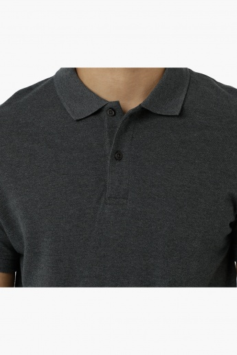 Cotton Polo T-Shirt with Pique Collar and Short Sleeves in Regular Fit