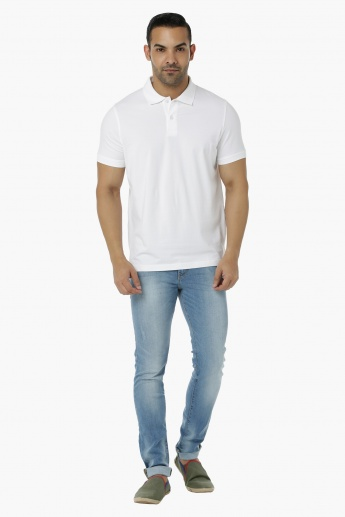 Cotton Polo T-Shirt with Short Sleeves in Regular Fit
