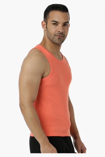 Cotton Rib Vest with Round Neck in Regular Fit
