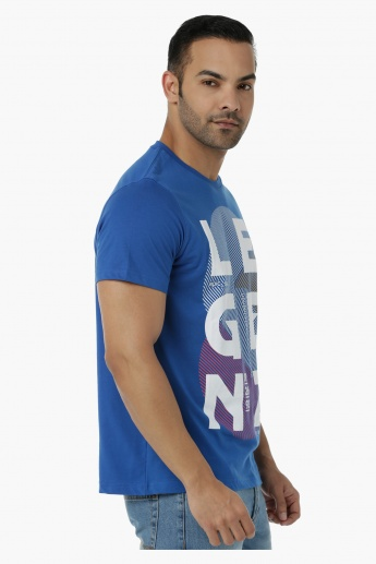 Printed Cotton T-Shirt with Round Neck and Short Sleeves in Regular Fit