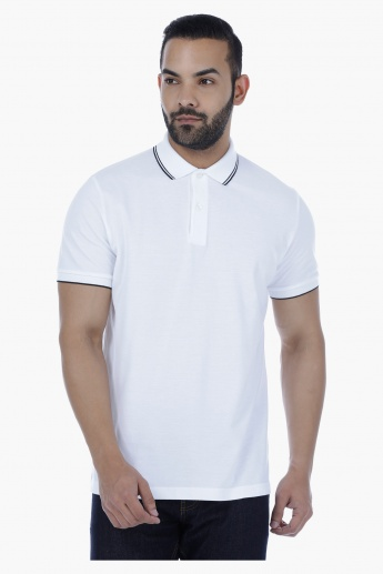 Polo Neck T-Shirt with Short Sleeves and Tipped Collar